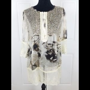 Sundance Catalog Top Silk Large Lace Embroidered